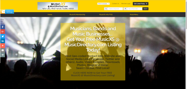 website for MusicXS @ MusicDirectory.com